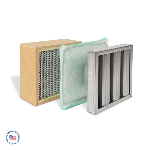 F-DD4 Galvanized Baffle Prefilter, Poly Panel Secondary Filter, and Primary Hepa Filter 1